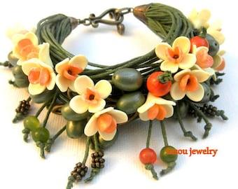 Green Bracelet, Flower Bracelet, Handmade Bracelet, Flower Jewelry, Wrap Bracelet, Boho Bracelet, Cotton Cord Bracelet, Gift For Her, Floral