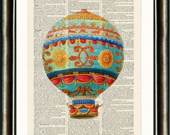 Hot Air Balloon - Upcycled vintage Steam Punk image printed on a late 1800s Dictionary page Buy 3 get 1 FREE