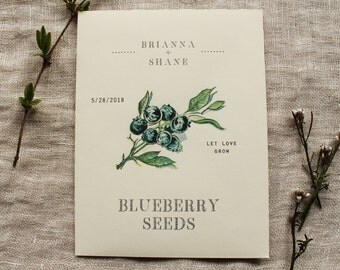 Blueberry Seed Envelope Favor Seed Packet Wedding Shower Party Favor