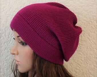 Women's beanie, knitted hat, handmade beanie for women, stylish hat, fashion beanie, slouchy beanie, slouch hat, acrylic