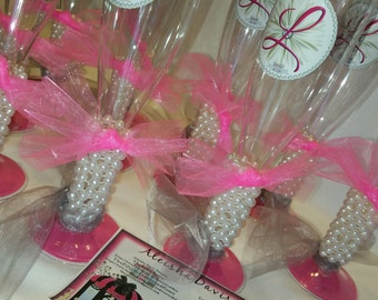 Plastic Champagne Flute Dessert Holders, Event/ Color Customization/ Personalized Stickers Avaliable