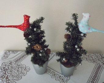 Two Hankmade bid with Chrismas tree Home Decor, Primitive Folk Art, Christmas Decoration,