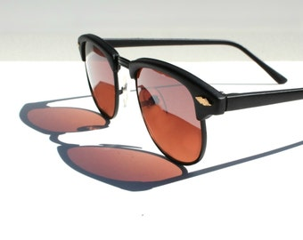 Vintage Wayfarer Sunglasses, 1980s Black Clubmaster Glasses, Deadstock Eyeglasses