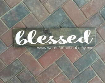 Blessed Wood Sign - Autumn Wall Art - Rustic Home Decor - Autumn Rustic Sign - Wood Sign - Farmhouse Decor - Blessed Wall Art - Autumn Decor