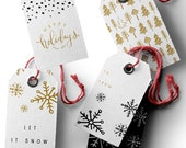 Printable Christmas Gift Tags - Let It Snow / Happy Holidays