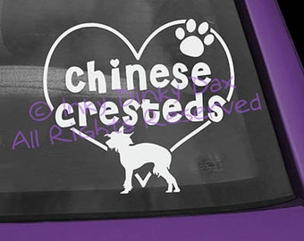 Chinese Crested in Heart Decal
