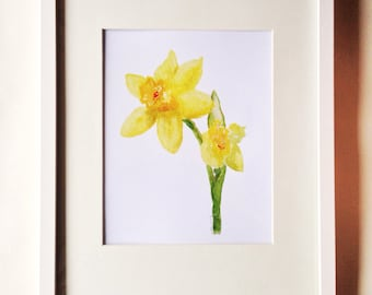 Daffodils Watercolor Print