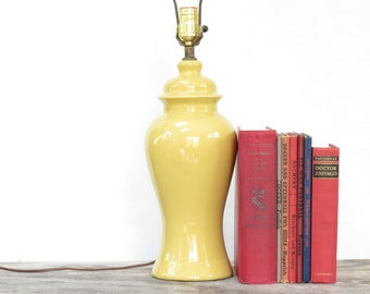 Vintage Yellow Ginger Jar Lamp - 60s Yellow Pottery Ceramic Lamp - Mid Century Yellow Lamp - Vintage Yellow Lamp