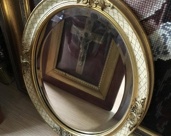 Antique vintage mirror french 1900 oval chique european old mirror golden frame ornamental