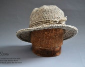 Winter Hat with short  brim / Bowler Hat / Wool Hat / Winter Hat / local NY Sheepswool/ Free Size / Color BIRCH / Packs Flat