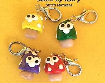 Happy Toadstool Stitch Marker - Set of 4