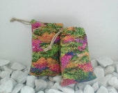 Flower Patch Pouches, Lavender Bags, Hemp Drawstring Padded Pouch