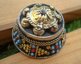 Turquoise Afghan Tribal Dome Ring,Carved Ethnic Ring,Turkmen,Afghan Kuchi Jewelry,Bohemian,Festival,Gypsy Boho Ring,Gilt Silver