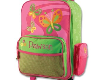 Butterfly Rolling Luggage - Pink and Lime Green - Travel - Suitcase