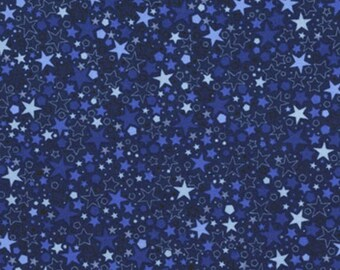 RJR Basically Patrick, Tonal Blue Stars Fabric