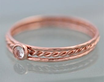 Rose Gold Stack Set of 3 14k SOLID 1 Very Skinny Rope Twist Ring With White Topaz  2 Thin Hammered Simple Stacking Band Ring  Shiny Finish