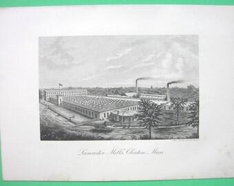 MASSACHUSETTS Clinton Lancaster Mills Company    - 1876 Antique Print Engraving