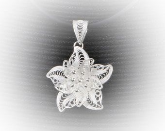 Water lily pendant silver embroidery