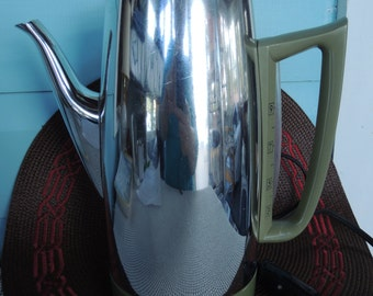 GE 9-cup Avocado Percolator, General Electric Coffee pot,Working condition, Vintage