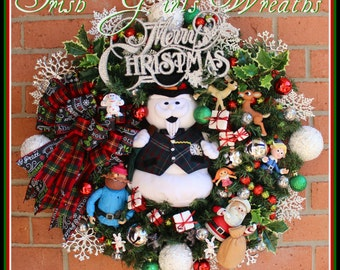 2016 PRE-ORDER Sam the Snowman Rudolph Misfit Toys Wreath, Santa, Yukon, Misfit Dolly, Spotted Elephant, Snowflake lights, Made-To-Order