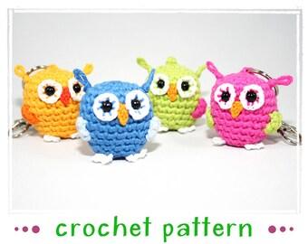 Owl - key chain - bag dangler - amigurumi - Crochet Pattern