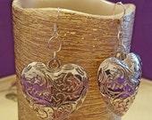 EARRINGS: Large Decorative Heart Pendant Charm Sterling Silver Earrings