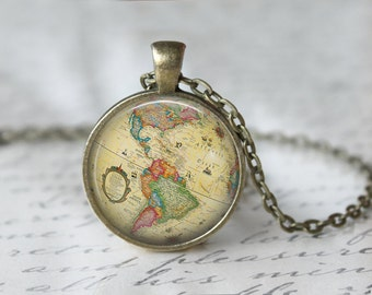 Globe Necklace - World Map Necklace - World Traveler Necklace - Globe Pendant - Gift for Traveler - Traveler Pendant - Custom Pendants X149