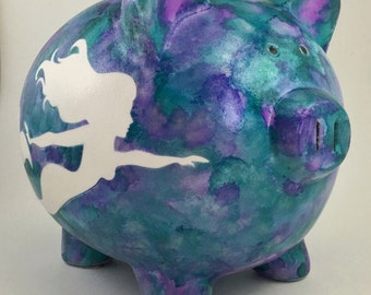 Mermaid Personalized Piggy Bank - Hand Painted Pig - Custom Baby Shower Gift - Money Box for Babies - Large Coin Bank - Underwater Theme
