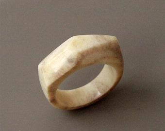 Antler ring, Size 9 US, Antler rings, Antler jewelry, Deer antler, Geometric ring, Bone ring, Bone jewelry, Faceted ring, Women ring