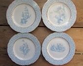 Vintage Lunch Plates 4 Blue Transferware Birds and Flowers Dishes