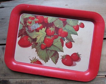 Strawberry Vintage Metal Tray Kitsch Serving Tray
