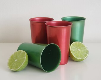 Anodised aluminium cups / retro picnic ware / red and green / made in Japan
