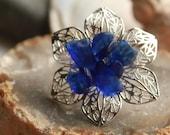cobalt blue sea glass flower stainless steel adjustable ring beach statement jewelry