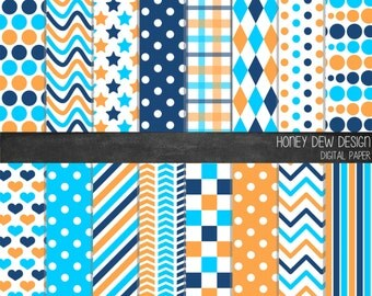 Instant Download - Digital Paper Pack 327 Orange and Blue Patterned Paper