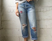 Nothin' but Love 1980s Patched Distressed Levis 501s