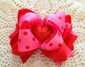 Valentine's Hair Bow...Valentine Hair Bow...Polka Dot Hair Bow...Red and Hot Pink Hair Bow...Hot Pink and Red Bow.