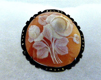 Edwardian Era Handcarved Rose Buds With Greenery Cameo Shell Framed in Sterling Silver With Marcasites Brooch Pendant