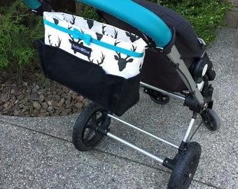 Stroller parent organizer- stroller bag//stroller caddy with a bow