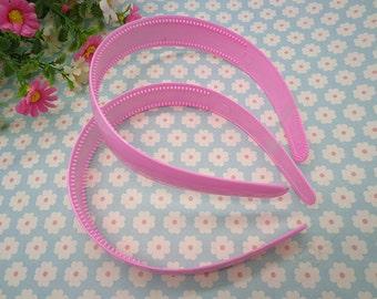 5 pcs pink color plastic headband 25mm wide