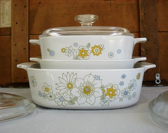 Vintage Corning Ware-Pyrex Floral Bouquet Corningware Casserole Dishes