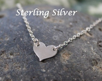 Heart necklace - minimalist necklace - sterling silver small heart necklace