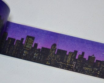 1 Roll of Japanese Washi Tape Roll- Cityscape skylines
