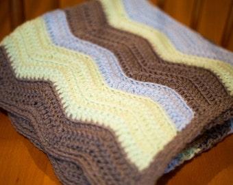 Crochet Baby Blanket, Green, Blue, and Grey Chevron