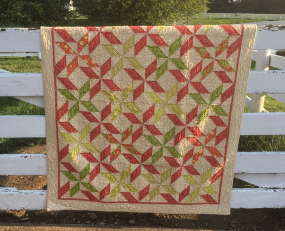 "Little Girl Quilt in Coral and Sage Green 61"" by 49"""