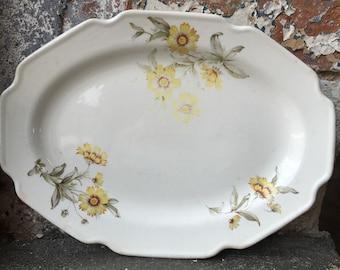 Floral Platter- Vintage Platter, Vintage Floral Platter, Yellow, Platter, Serving Platter, Floral, Shabby Chic, Cottage, Daisy, Yellow