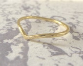 18ct Gold Wedding Ring - Holly Wishbone - 1.2mm - Slim Wishbone Ring - 18ct Rose Gold