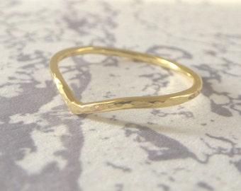 18ct Gold Wedding Ring - Holly Wishbone - 1.2mm - Slim Wishbone Ring - 18ct Rose Gold