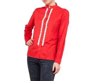 Vintage Red Cotton Blouse Shirt White Laces Lace / Boho Cottage 70s Blouse / Romantic Womens Size Small