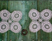 Pair of small Italian crocheted table runners