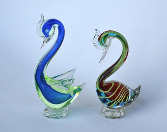 Pair of Murano hand made glass coloured swans